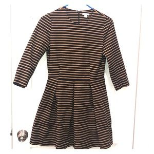 Striped brown and black skater dress